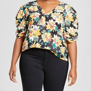 🎃Ava and Viv colorful floral boxy top